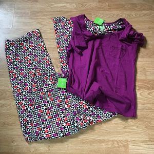 Vera Bradley knit Pajamas set Plum Rosewood L XL